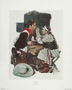 Norman Rockwell Rare Vtg 1973 Circle Gallery Collotype The Texan Gary Cooper
