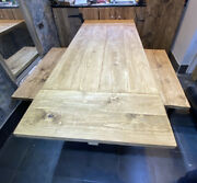 Handmade Bespoke Drop Leaf Kitchen Table Benches On Metal Legs