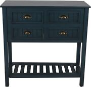 Decor Therapy Bailey Bead Board 4-drawer Console Table Antique Navy