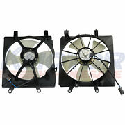 Radiator And Ac Condenser Cooling Fan Assembly Lh+rh Set Fit For Honda Civic 1.7l