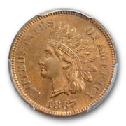1867 1c Indian Head Cent Pcgs Ms 64 Rb Uncirculated Red Brown Cac Approved