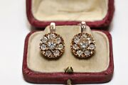 Antique 14k Gold Natural Diamond Decorated Russian Pretty Strong Earring