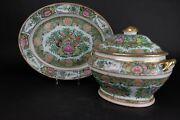 Chinese Export Porcelain Canton Famille Rose Soup Tureen And Cover On Stand 19thc