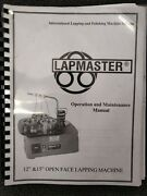 Lapmaster Operation And Maintenance Manual 12 And 15 Lapping Machine