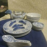 Antique Blue And White Canton Express Bentson In West Design Chinese Dishes Set