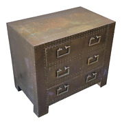Sarreid Petite Brass Chest Of Drawers Nightstand Bedside Side Table