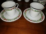 Domestications Dinnerware 12 Days Of Christmas Holly And Bows 2 Cups And Saucers