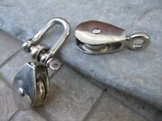 Two Small Nautical Maritime Pulley Sheave Tool In Stainless And Brass 1 Shackle