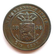 Netherlands Indies 2 1/2 Cents 1858 Willem Iii Copper Gvf Small Plug Km308