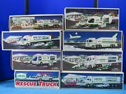 Lot Of 8 Vintage Hess Truck Helicopter Semi Van Vehicle Motorcycles W/ Box