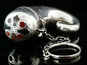 Antique Sterling Silver And Agate Vinaigrette Of Snuff Horn Form Birmingham 1899