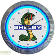 Shelby Super Snake Ford Blue Neon 15 Wall Clock Glass Face Chrome Finish New