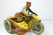 1930and039s Marx Police Siren Motorcycle W/driver And Sidecar No.3 Tin Wind Up 8 Long