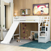 Twin Size Loft Bed With Storage And Slide Wood Bed Frame Bedroom Furniture Us