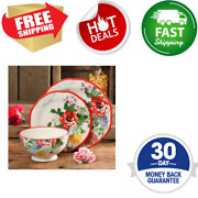 Dinnerware Sets For 12 Floral Patterns Red Rims Clean Linen Background Round