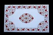 4'x2.5' White Marble Dining Table Top Carnelian Floral Marquetry Inlay Hallway