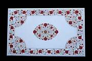 4and039x2.5and039 White Marble Dining Table Top Carnelian Floral Marquetry Inlay Hallway