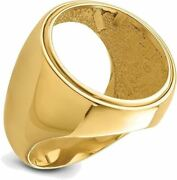 14k Yellow Gold Mens Polished Classic Open Back 21.6mm Coin Bezel Ring