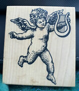 Cupid Angel With Harp Lyre Love Wedding Valentines Day Home Decor Rubber Stamp