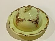 Heisey Winged Scroll Custard Glass Ivorina Verde Butter Dish With Cover1899-1901