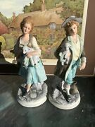 Ethan Allen Boy And Girl Shepherds With Lambs Figurine Set, Japanese Porcelain