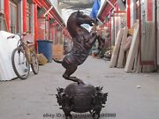 38 Huge Chinese Fengshui Horse Steed Stand Dragon Qilin Ball Bronze Statue