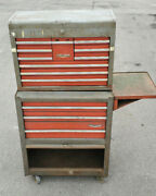 Vintage Craftsman 1970's Gray And Red Mechanics Rolling Tool Chest Box Cabinet
