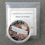 Uncirculated Proof 2000 Liberia .999 Silver 20 Wright Flyer Coin And Certificate