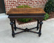 Antique English Game Table Flip Top Gaming Card Table Oak Console Sofa Entry