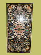 5and039x2.5and039 Black Marble Table Top Pietra Dura Inlay Art Work For Home Decor