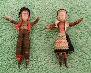 Vintage Christmas Ornaments Rustic Primitive Handcrafted Man Woman Thread