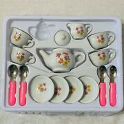 Play The Child's Imagination Ceramic Tea Set For Kids 1part Missing As Pictured