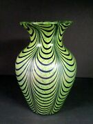 Vintage Hand Blown Art Glass Pulled Loop Vase Green Blue Some Iridescent 7 Tall