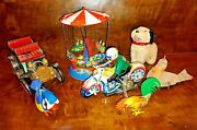 Collection Of 5 German And Japanese Vintage Wind-up And Tin Toys Lehmann Köhler Alps
