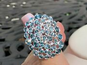 Colleen Lopez Sterling Silver 10.42 Ctw Blue Zircon And White Topaz Ring Size 9