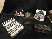 Christmas Winter Snow Village 1 Building 3 Train Cars Bench 3 Track Pieces Lot 8