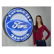 36 Neonetics Neon Round Authorized Ford Service Auto Sign 9frdbk - Led Accents