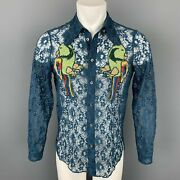 S/s 16 Size S Teal Sheer Lace Embroidery Polyamide Blend Long Sleeve Shirt