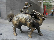 Royal Pure Bronze Exquisite Boys Ride On Fu Foo Dog Lion Beast Kylin Statues