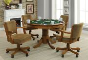 3 In 1 Poker Bumper Pool Amber Dining Game Poker Table 4 Rolling Arm Chairs Set