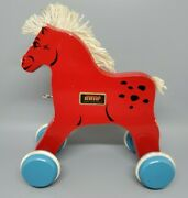 Vintage Brio Wooden Red Horse Pull Toy From The 70's Made In Sweden