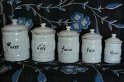 French Antique Canister Set Blue And White Fluted Vintage Enamelware Vg