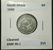 South Africa 1948 Sixpence 6d Km 36.1 Cleaned  145