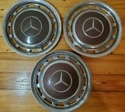 Mercedes-benz Vintage Hubcaps Set Of 3 Chrome And Burgundy 15andrdquo