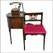 Vintage Antique Telephone Table With Velvet Seat Red And Working Rotary Phone...