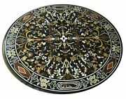 3and039x3and039 Black Marble Table Top Coffee Dining Decor Antique Inlay Malachite Fg2