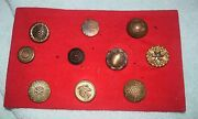 Nk-030 - Ten Vintage Brass Sewing Buttons Ornate Antique All Different Large