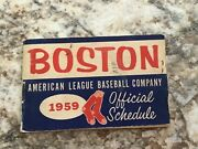 1959 American League Schedule From The Boston Red Sox 3 Tickets Attached