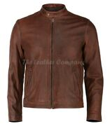 Menand039s Biker Cafe Racer Vintage Motorcycle Cow Distress Brown Leather Jacket