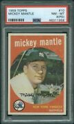 1959 Topps 10 Mickey Mantle Psa 8pd 1958